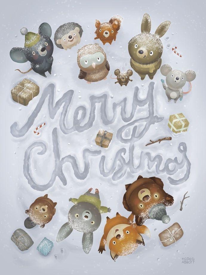 Merry Christmas Animals -  print by Greg Abbott