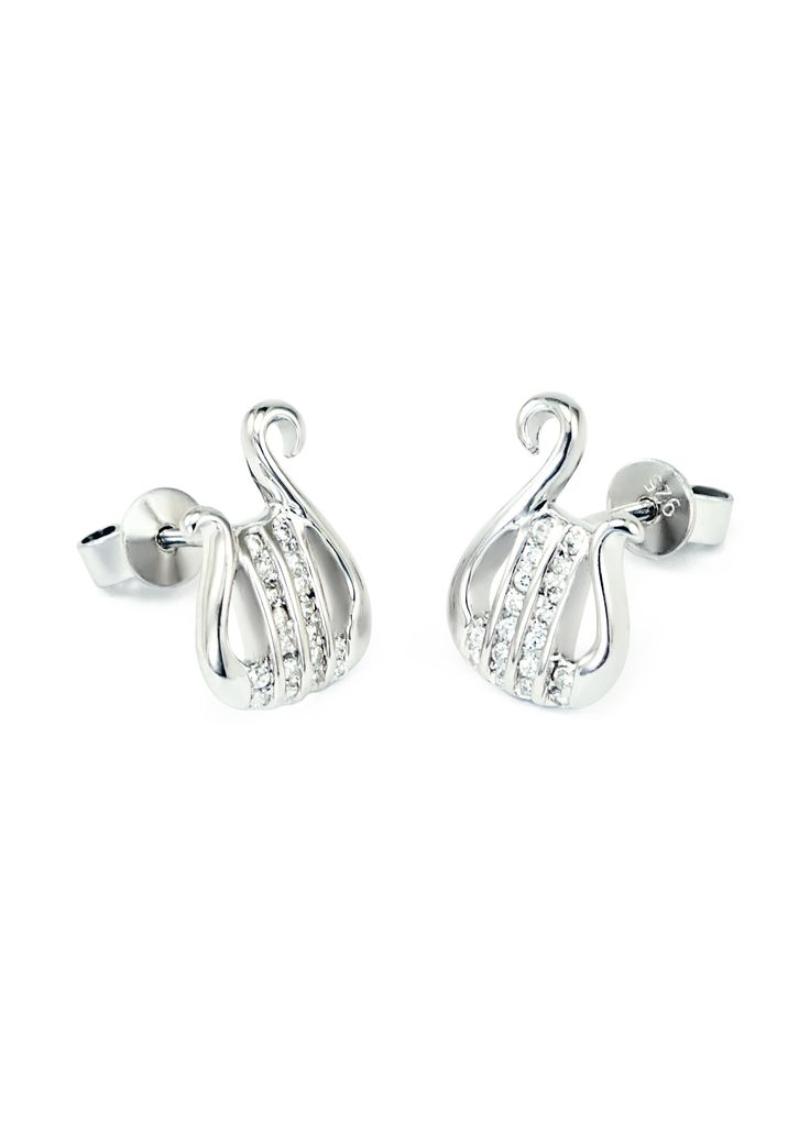 ♦ A pair of beautiful and classy Alpha Chi Omega sterling silver lyre earrings with simulated diamonds, designed exclusively by our company. The earrings are hand-crafted and polished to a dazzling sh