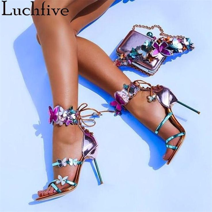 Newest summer sandals Mixed Colors Sweet butterfly decor Harmony Metallic Leather Turquoise strap belt Zapatos Mujer Shoes – Hochhackige heiße Schuhe