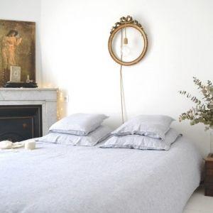 Housse de couette en lin lavé Rayé marine et blanc  www.lereperedesbelettes.com