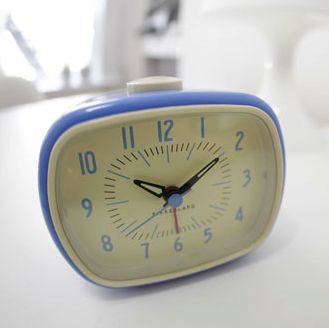 Add some retro charm to your bedside table with this fun alarm clock. It features glow-in-the-dark hands and a beep alarm to make sure you get to the office on time.  Find the Retro-Style Alarm Clock in Blue, as seen in the Dot&Bo Exclusive Sale Collection at http://dotandbo.com/collections/48-hour-private-sale?utm_source=pinterest&utm_medium=organic&db_sku=KIK0007-blu