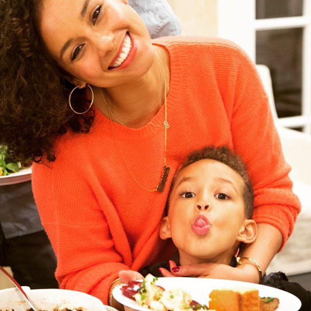 Pin for Later: See How Stars Are Celebrating the Thanksgiving Weekend!  Alicia Keys snuggled up with her son, Egypt.