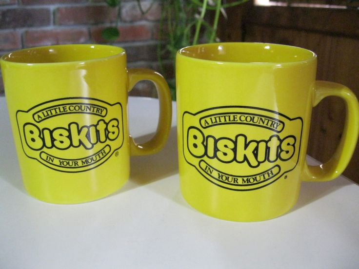 Biskits Restaurant Mugs Cups Set of Two, Maxwell House Coffee Cups, Vintage Restaurant Advertising Mugs, Yellow Coffee Mugs by ShariansPlace on Etsy https://www.etsy.com/listing/259260866/biskits-restaurant-mugs-cups-set-of-two