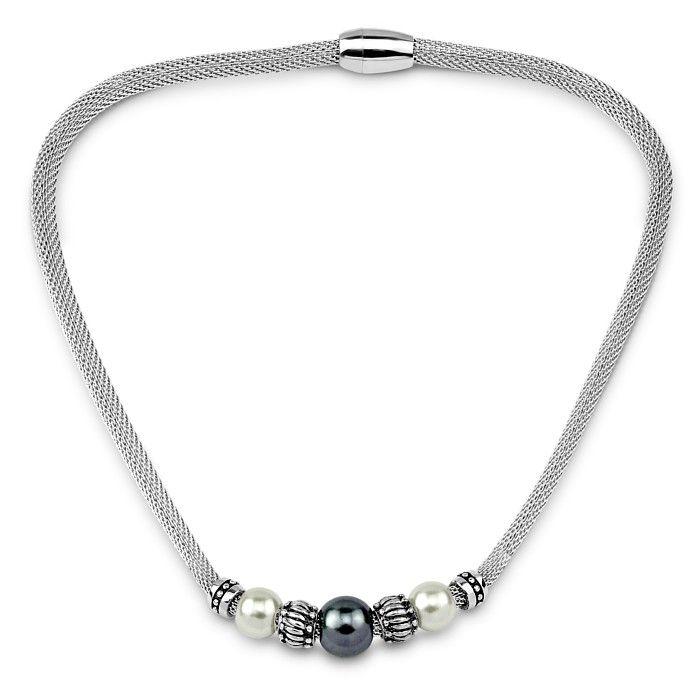 Stylový náhrdelník West Side se syntetickou perlou 45cm KMMN9389