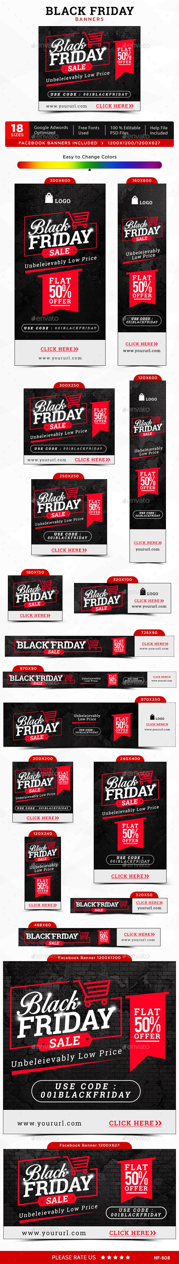 Black Friday Web Banners Template PSD #design Download: http://graphicriver.net/item/black-friday-banners/13686164?ref=ksioks