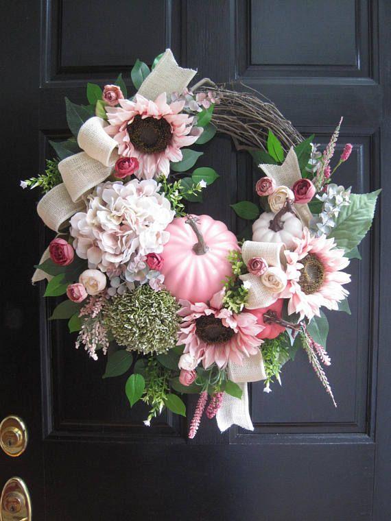 Pastel Pink Autumn Wreath, Front Door Wreath, Fall Wreath, Pink Pumpkins, Hydrangeas, Sunflowers, Thanksgiving Wreath, Grapevine Wreath, XL Front Door Wreath, Gift Wreath, Holiday Wreath, Handmade Wreath, Custom Wreath. This classic and elegant wreath design is a mix of luxurious seasonal