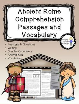 Ancient Rome nonfiction passages and vocabulary for big-ger kids! Topics include Ancient Rome, Roman Architecture, Gladiator Games, Romulus and Remus, and Ancient Roman Government.  This pack includes 5 nonfiction passages with challenging comprehension questions for each.