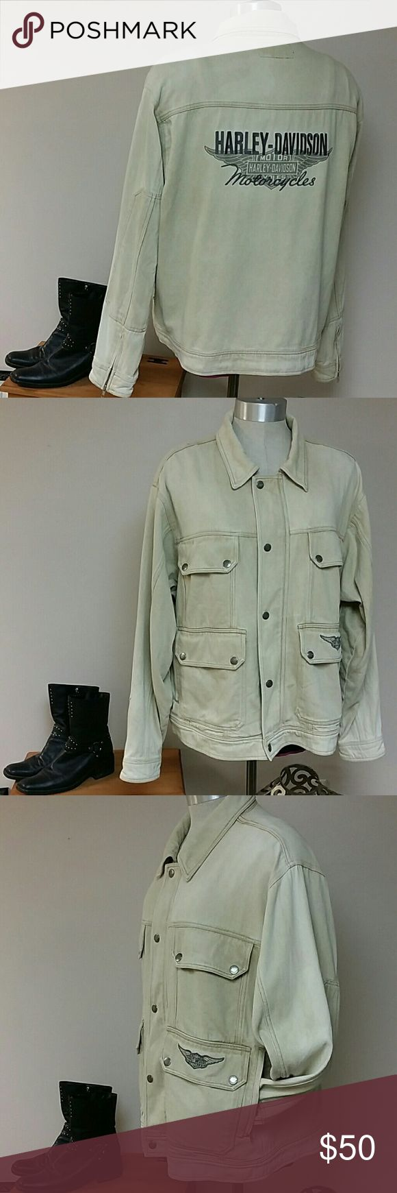 """PLUS mens XL Harley Jean Jacket UNISEX Tan denim jacket worn on a tall PLUS sized woman for real riding. Roomy enough to wear over a hoodie or fleece liner. Snap and zipper pockets. Excellent condition.   Men sized XL...check these measurements against your own jacket. Measured fully zipped closed.  Chest 25"""" across, hem falls below hip 25"""" across, sleeve length 23"""". Shoulder to hem 27"""".   Fits Men XL or Women 18/20 tall  Free shipping on this item, ask me how! Harley-Davidson Jackets…"""