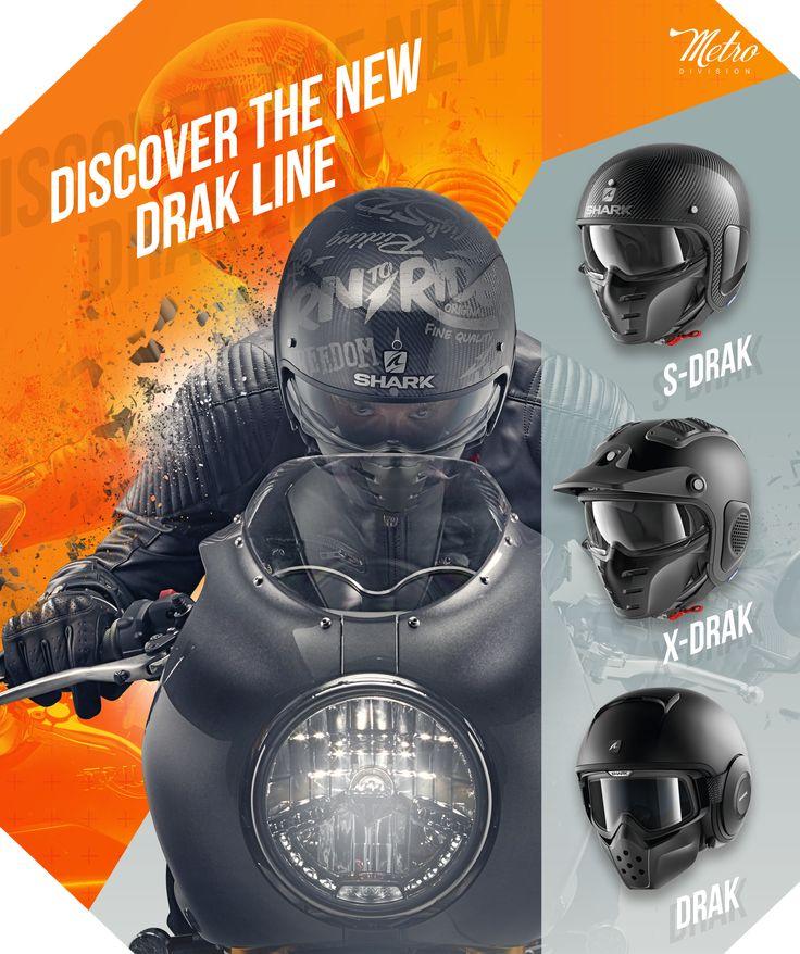 SHARK | Nova Gama DRAK Qual vai escolher?  Veja todos os capacetes da Metro Division da SHARK - Se não encontrar o que pretende, entre em contacto com a Lusomotos.  #shark #helmets #lusomotos #estilodevida #capacete #Drak #SDrak #XDrak #quilómetrosquecontam