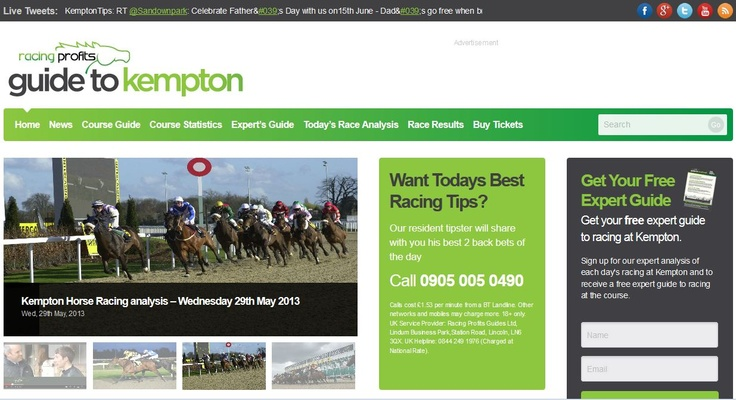 The final all-weather course website to be released in March 2013 was KemptonRacecourseTips.co.uk