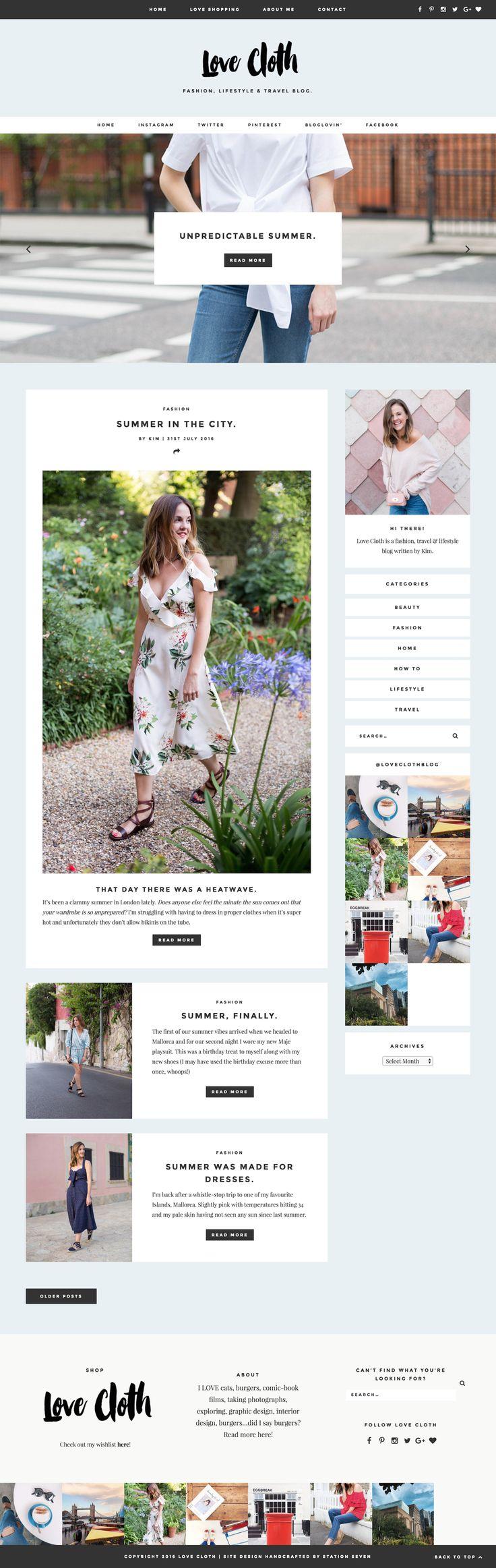 Love Cloth's beautiful fashion and lifestyle blog running on Station Seven's Monstera WordPress theme.