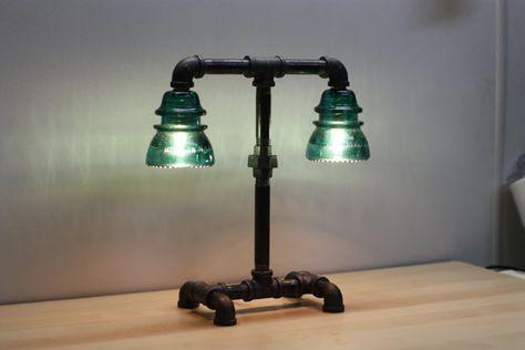 Aqua Blue-Green Glass Insulator Dual Light Desk Lamp Retro-Industrial Styling. $199.99, via Etsy.