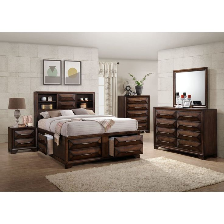 Storage with function! Dramatic and tasteful oversized raised diamond drawer front panels add heft to this functional bedroom design. Clean, simple bar hardware pulls work effortlessly and accents the rich Valspar tobacco finish. The super storage bed features a bookcase headboard with dual USB ports and the platform base offers 4 oversized deep storage drawers.