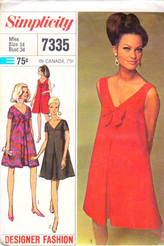 Oh I want to make this dress..if I only had a sewing machine, and could sew.... Vintage Sewing Pattern Mini V Neck Tent Dress Pattern Size 14 1967 Simplicity 7335
