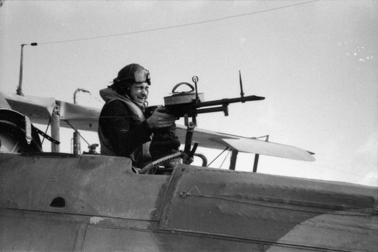 THE ROYAL NAVY DURING THE SECOND WORLD WAR/ The air gunner of a Fairey Swordfish torpedo bomber at his position on the rear-facing .303 inch Vickers machine gun. This Fairey Swordfish was one from HMS.