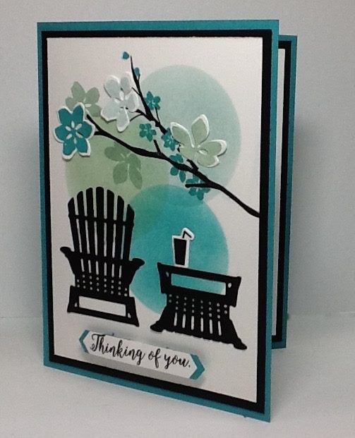 The colors are Soft Sky, Mint Macaron and Bermuda Bay. Seasonal Layers Thinlits and Colorful Seasons stamp set.
