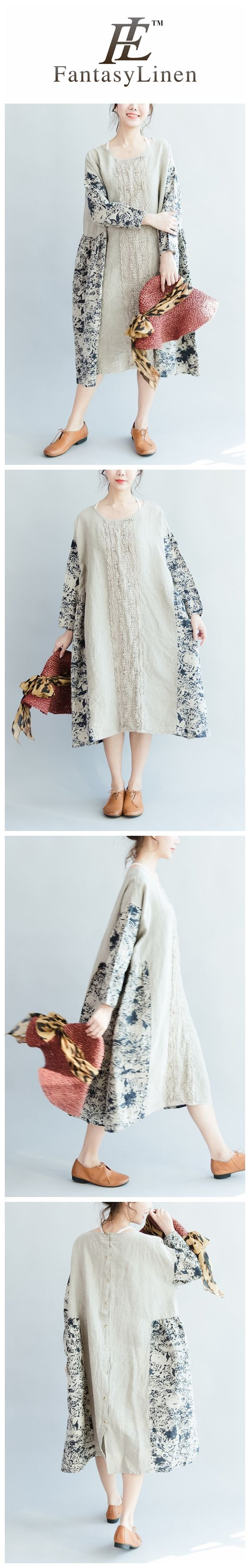Loose Casual Foral Cotton Linen Dress Women Clothes