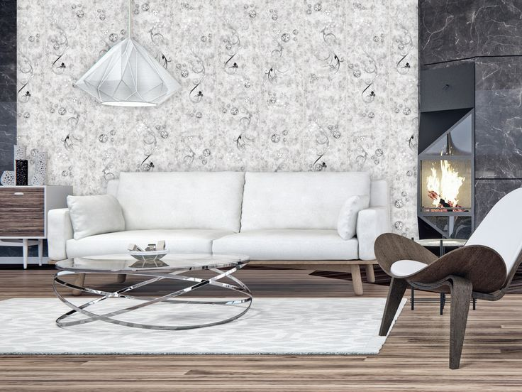 Add final touch to your apartment with decorative wallpaper - modern concrete texture + glamour look