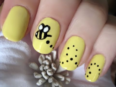 seriously pintrest is feeding my nail polish obsession...such cute bumblebee nails/ Aw too cute