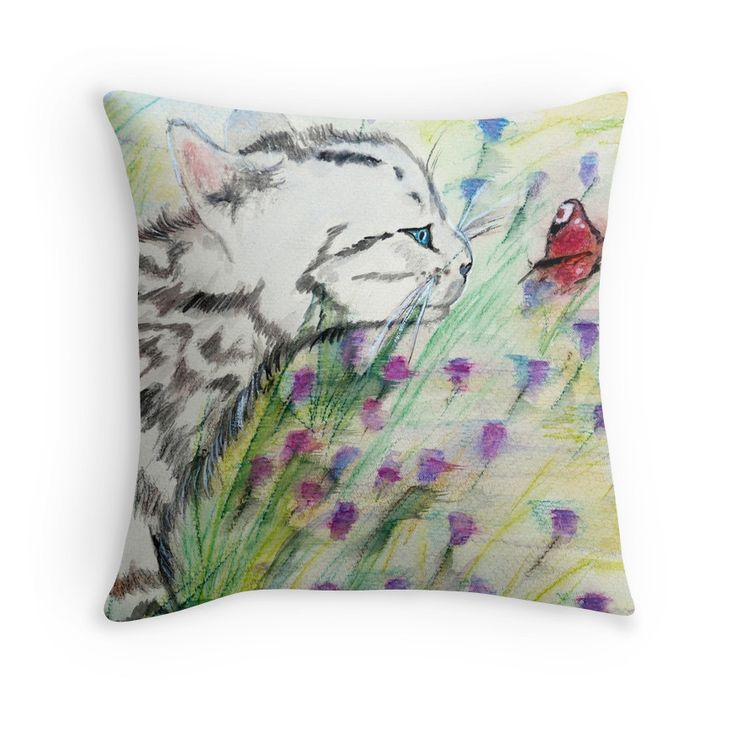 """Curious Kitty"" Throw Pillows by kridel 