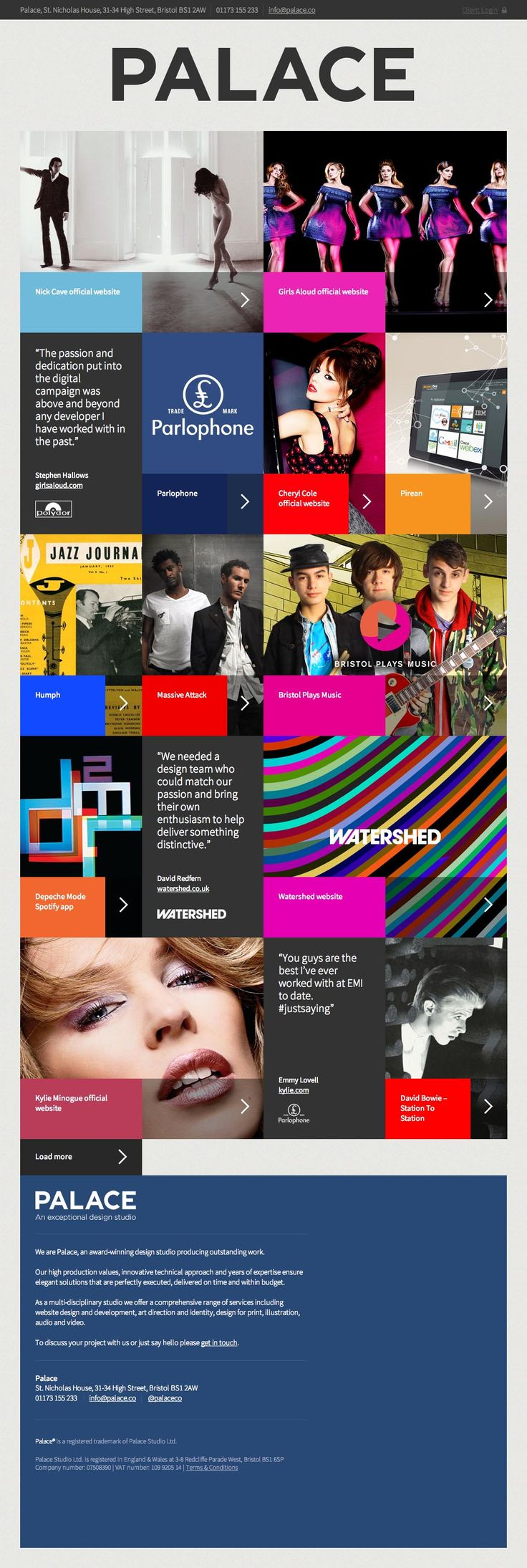 Website of the award-winning design studio Palace which is slick, elegant and responsive - designed by Palace, UK