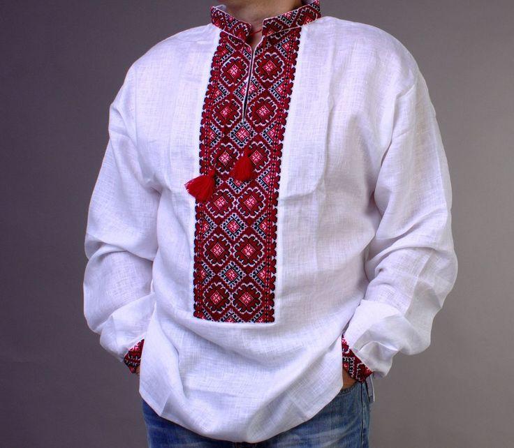 VYSHYVANKA Ukrainian Traditional Cross-stith Embroidered Men LINEN SHIRT S-4XL…