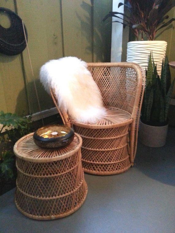 Vintage 1970u0027s Wicker Round Back Chair And Wicker By WeAreLottery