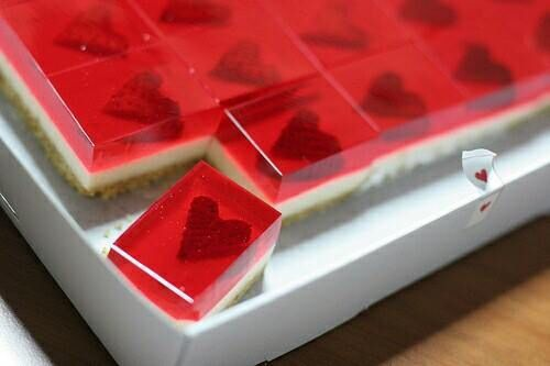 Jello cheesecake with hearts.