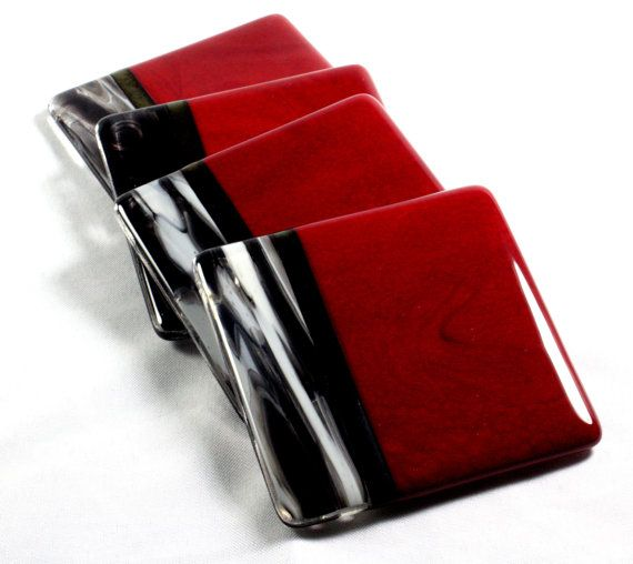 Fused+Glass+Coasters-Red+Black+and+Murano+Set+of+4+by+JMFusions
