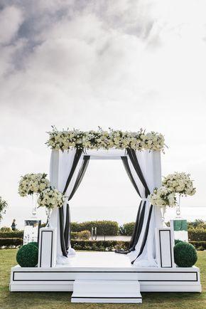 aboutdetailsdetails.com | Jana Williams Photography | Details Details Weddings and Events | Montage Laguna Beach Wedding | Ocean View Wedding | Wedding Ceremony | Black and White Wedding | Black and White Draped Alter |