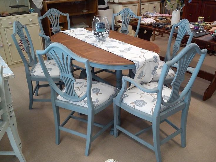 Blue and white table and chairs, with stripped table top.