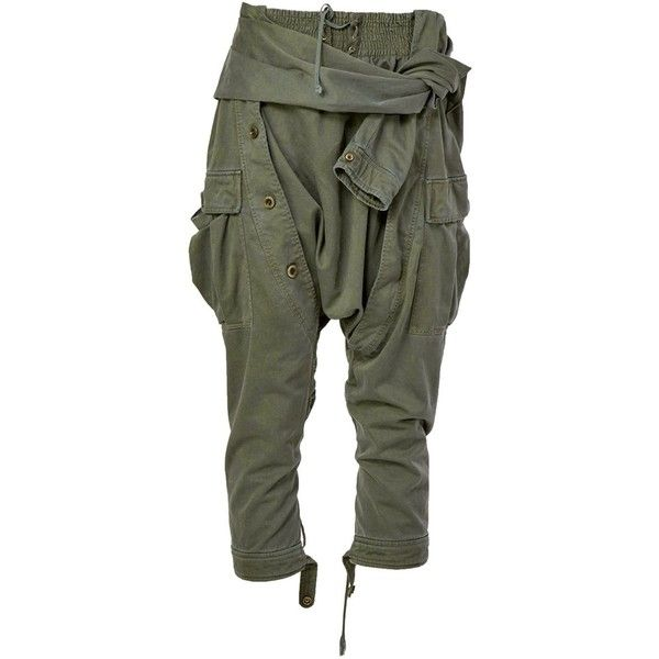 Faith Connexion Drop-Crotch Cropped Trousers ($826) ❤ liked on Polyvore featuring pants, capris, bottoms, green, low crotch pants, green pants, cropped capri pants, drop crotch pants and cropped pants