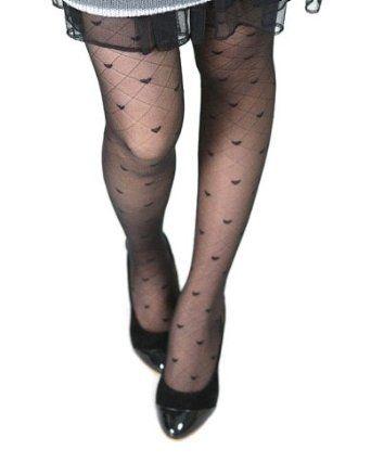 New Pretty Tights Ultrathin Stretching Heart Black Pattern Jacquard Weaves Pantyhose AMC. $5.99