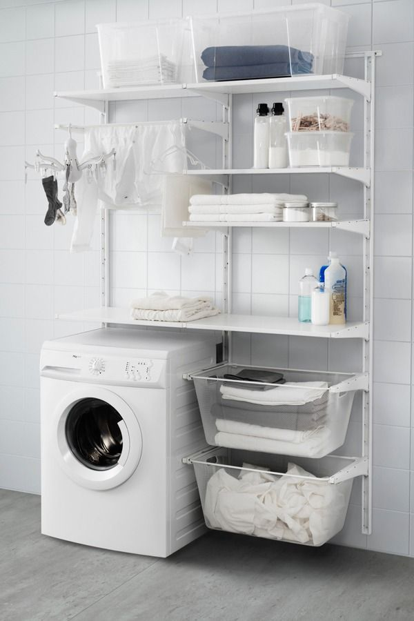 IKEA ALGOT wall storage is easy to assemble, adjust and change your storage solution! This combination, including the wall upright, shelves and drying rack is perfect by your washing machine and dryer because it gives you plenty of room to hang, fold and sort your laundry.