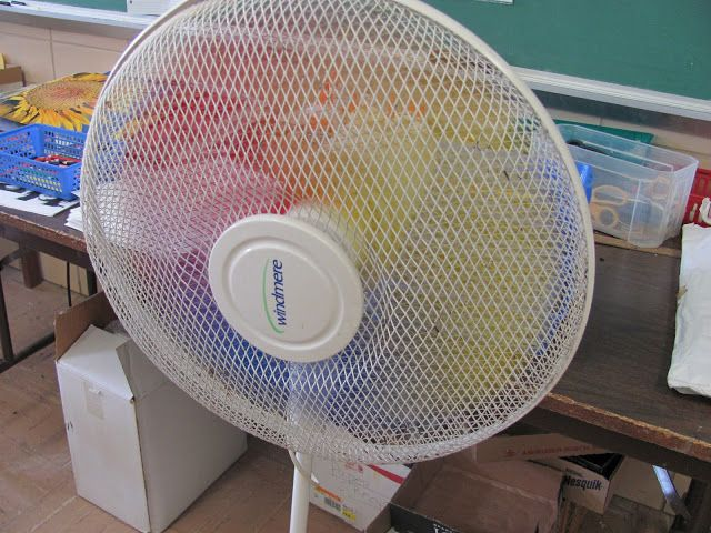 Make a Rainbow fan by painting the blades red, yellow, and blue. Cool!
