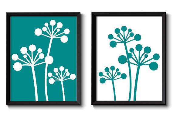 Dandelion Art Print Turquoise Teal Blue White Flower Art Print