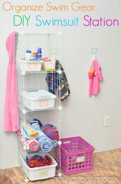 Keep beach/pool gear organized with this handy DIY swimsuit station #summer #organization