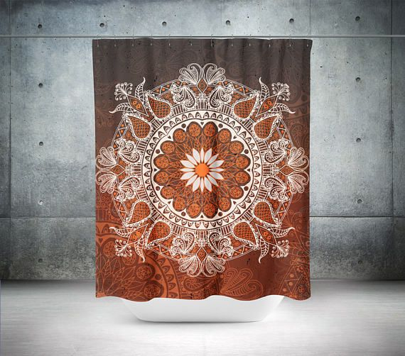 Mandala Shower Curtain,Boho Shower Curtain,Boho Decor,Hippie Shower Curtain,Bohemian Curtain,Bathroom Decor,Boho Chic,Brown Shower Curtains