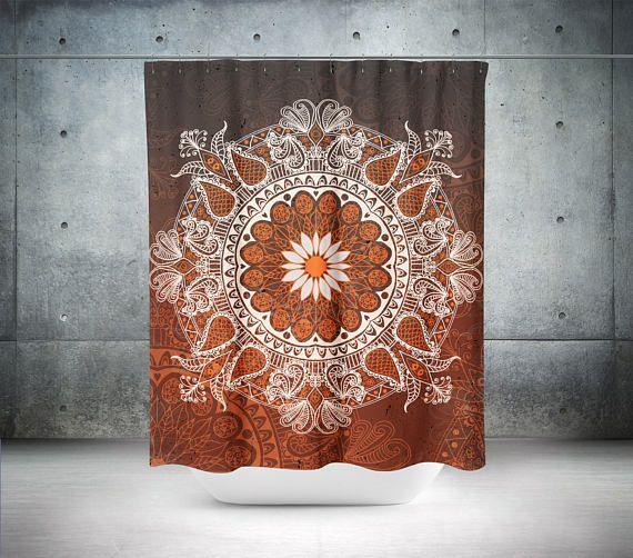 Mandala Shower Curtain,Boho Shower Curtain,Boho Decor,Hippie Shower Curtain,Bohemian Curtain,Bathroom Decor,Boho Chic,Brown Shower Curtains