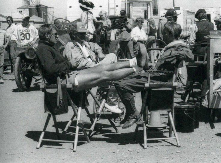 River Phoenix, Harrison Ford and Steven Spielberg on set of Indiana Jones and the Last Crusade (1989).