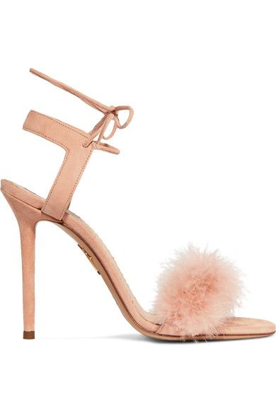 Charlotte Olympia - Salsa Feather-trimmed Suede Sandals - Blush - IT36.5
