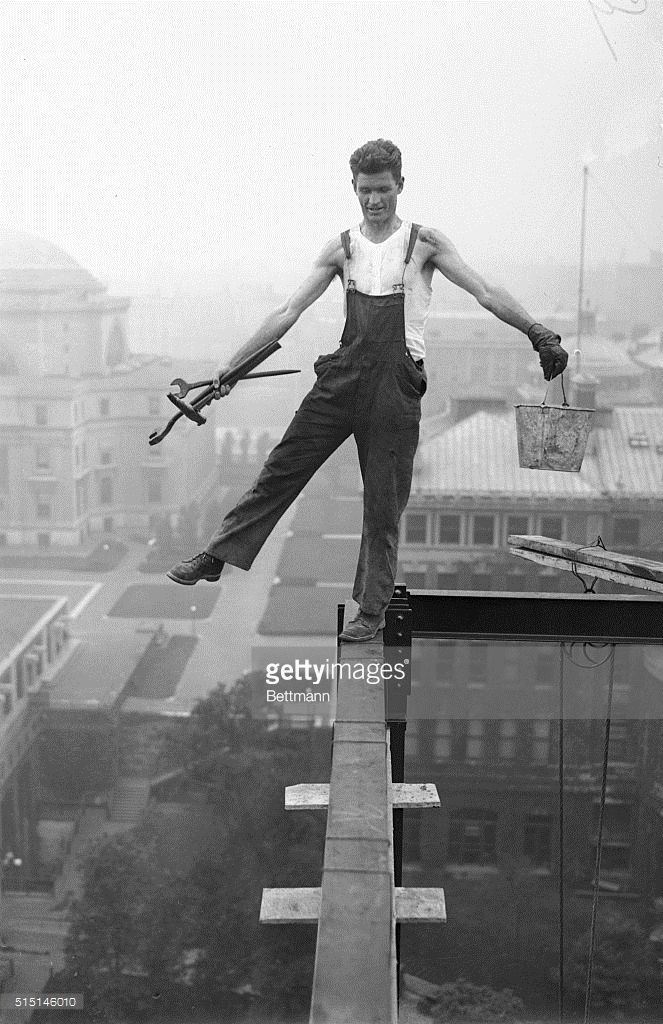 1925 College Student in New York: At the suggestion of Austin, Texas, is making good use of his summer vacation by learning with the sweat of his brow, how tons of steel become giant skyscrapers. He is an iron worker on the new 15 story physics building for Columbia University, which is in the course of construction. Besides not being afraid to balance himself atop the highest girders, the student iron worker is quite a boxer, fighting under the name of 'Wary' Wade. The...