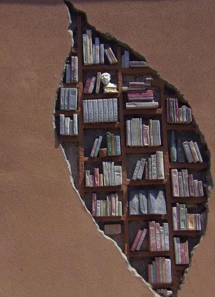 Creative bookshelf inside the wall