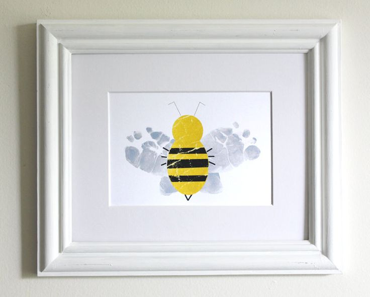 Nursery Art - Baby Feet Bumble Bee - Personalized Gift for New Mom, New Dad - Modern Nursery Art Print in Yellow, White - Playroom Decor. $26.00, via Etsy.