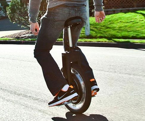 Self Balancing Unicycle  Teach those Segway geeks a thing or two about advanced transportation efficiency by rolling up on the self balancing unicycle. This eco-friendly gadget whizzes around at speeds up to 10 MPH and features regenerative brakes for added safety.