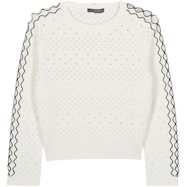 Womens Jumpers Alexander McQueen Ivory Cropped Eyelet Stretch-knit... found on Polyvore featuring tops, sweaters, cropped jumper, winter white sweater, cropped sweater, grommet top and raglan sleeve top