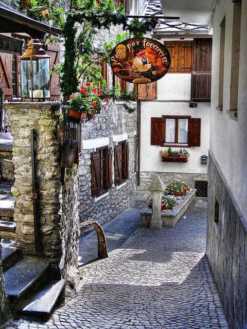 Courmayeur alley, Italy