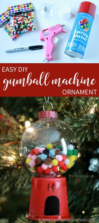 A great use for K-cups!  Pair with a clear plastic ball ornament and you have these fun Gumball Machine Ornaments for your tree!