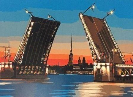 Развод мостов. Размер картины 40х50см. Кисти, холст, краски, схема, крепления уже в наборе.
