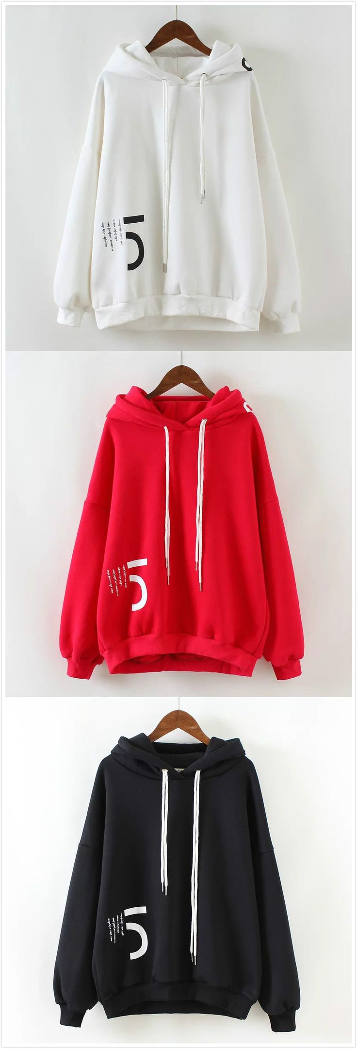 Fashion Letter Print Loose Hoodie Sweatshirt